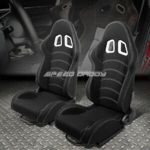 Pair Black double Stitch Reclinable Woven Fabric Type r Racing Seats W sliders