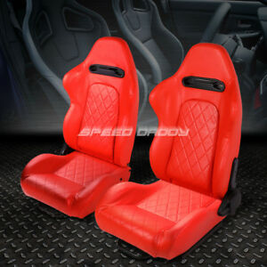 Pair All Red Quited Stitch Reclinable Leather Type R Racing Seats W Sliders