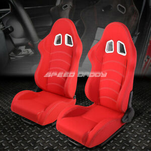 Pair Red Double Stitch Reclinable Woven Fabric Type R Racing Seats W Sliders