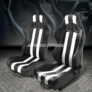 Pair Black white Dual Stripes Fully Reclinable Pvc Type r Racing Seats W sliders