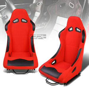 L r Red Base black Bolster Fixed Position Bucket Fabric Racing Seats W sliders