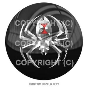 Premium Glossy Round 3d Epoxy Domed Decal Indoor Amp Outdoor Silver Metal Spider