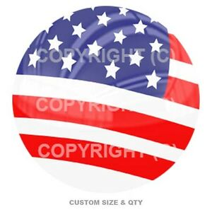 Premium Glossy Round 3d Epoxy Domed Decal Indoor Amp Outdoor Usa Flag Rwb