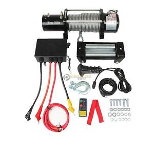 12000lb 12v Electric Recovery Winch Wireless Remote Trailer Rope Waterproof Suv