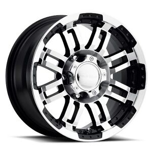16x6 Vision 375 Warrior 6x139 7 Et0 Gloss Black Machined Face Rims set Of 4