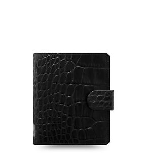 Filofax Classic Croc Pocket Size Organizer planner Ebony Color Leather 026074