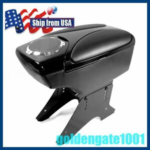 Us Car Black Leather Center Console Armrest Box Cup Holder For Universal Car Gg