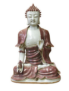 Vintage Chinese Red Glaze Porcelain Sitting Buddha With Tower Statue Cs2957
