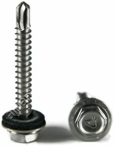 Stainless Steel Roofing Siding Screws Hex Washer Head Tek Epdm 12 X 1 1 4 1000pc