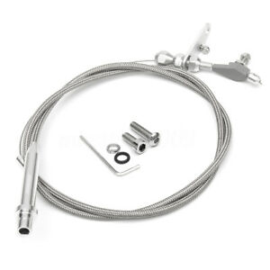 Stainless Braided Transmission Kick Down Cable Detent For Chevy Trans Th350