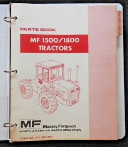 1974 Massey Ferguson Mf1500 Mf1800 Mf 1500 1800 Tractor Parts Catalog Manual