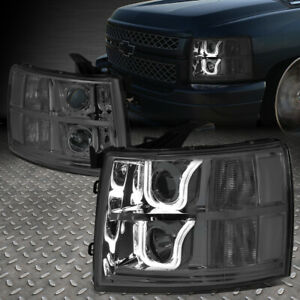 led U halo For 2007 2014 Chevy Silverado Smoked Clear Projector Headlight Set