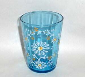 Antique 4 Blue Water Glass Tumbler With Enamel White Daisy Hand Painting