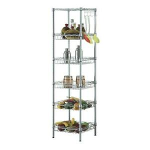 6 tier Kitchen Adjustable Corner Shelving Steel Wire Storage Rack Holder