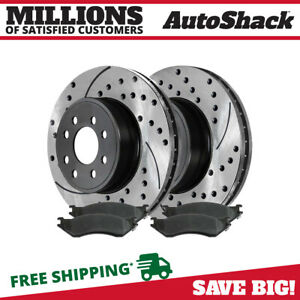 Rear Drilled And Slotted Brake Rotors Ceramic Pads For 2003 2008 Dodge Ram 2500