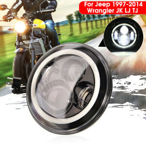 7 Inch Round Led Headlights With Halo Angle Eyes For Jeep Wrangler Jk Lj 97 2017