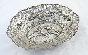 Netherlands Holland Silver 800 Serving Tray Bowl Sawing Angels 19 Century