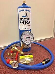 R410 R410a Refrigerant Recharge Kit 28 Oz Thermometer 3 Cores