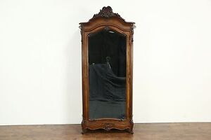 French 1890 Antique Carved Armoire Wardrobe Or Closet Beveled Mirror