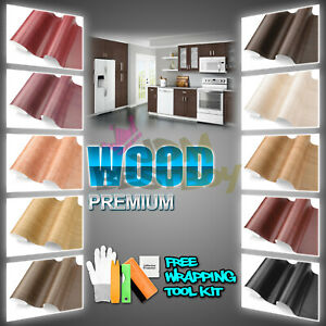 Wood Grain Teak Oak Cherry Ebony Vinyl Wrap Sticker Dash Trim Air Bubble Free