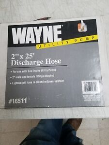 New Wayne 16511 Utility Pump Discharge 2 X 25 Pvc Flat Hose 2 Male Fittings