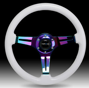 Nrg 350mm Racing Steering Wheel White Wood Grain Neo Chrome 3 Spoke Center