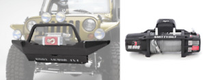Body Armor Front Winch Bumper Skid Plate And Smittybilt Winch For Jeep Wrangler
