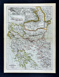 C 1885 Hartleben Map Greece Athens Turkey In Europe Constantinople Rumania