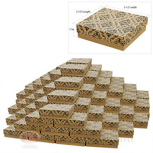 100 Damask Print Cotton Filled Jewelry Gift Boxes 3 1 2 X 3 1 2 Bracelet Box