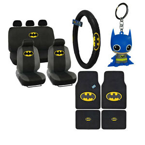 New Batman Front Back Car Floor Mats Seat Covers Steering Wheel Cover Keychain