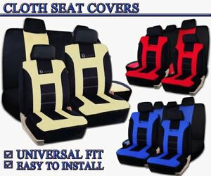 Zone Tech Universal Full Set Red Blue Beige Black Car Seat Covers Racing Style