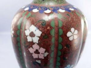Antique Meiji Period Japanese Cloisonne Lamp Ribbed Fine Red Iridescent Floral