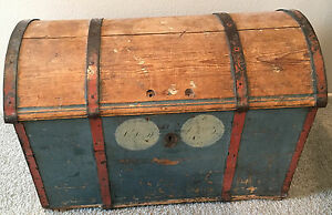 Norwegian Rosemaling Antique Wedding Bridal Round Top Trunk Blue 1800 S Dome