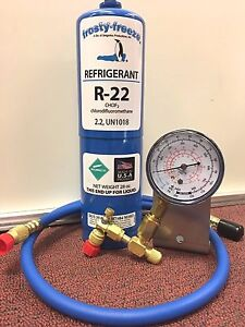 R22 Refrigerant R 22 Air Conditioner 28 Oz Large Recharge Kit Check Gauge