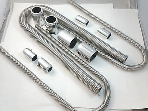 48 Chrome Stainless Flexible Radiator Heater Hose Kit W Billet Clamp Covers