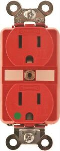 Hubbell Hbl8200sgra Hospital Grade Tamper resistant 15 Amp Receptacle Red