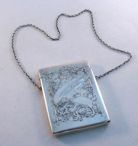 Kerr Floral Sterling Vintage Decorated Card Case W Chain Mono Ebc