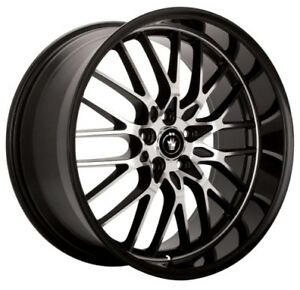 19x8 Konig Lace 5x100 45 Face Cut Black Rims set Of 4