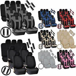 30pc Full Set Seat Covers Split Bench Steering Wheel Shoulder Belt Pads For Van
