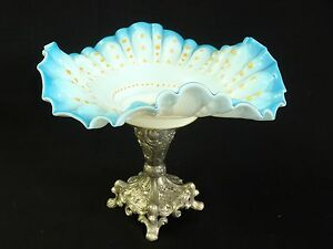 Antique Victorian Art Glass Brides Basket Bowl Stand Center Piece Silver Plated