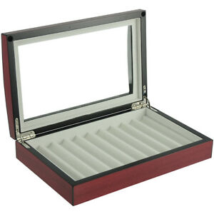 10 Pen Fountain Cherry Wood Display Case Holder Storage Collector Box 1601c