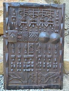Antique Dogon African Wood Granary House Door Window Shutter W Sliding Lock Mali