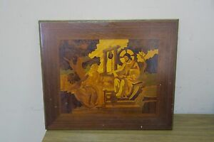 Vintage Inlaid Marquetry Wood Inlay Picture 12 X 14