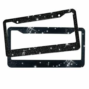 2 Pack Car Bling Rhinestone License Plate Frame Cover Sparkling Crystal Handmade