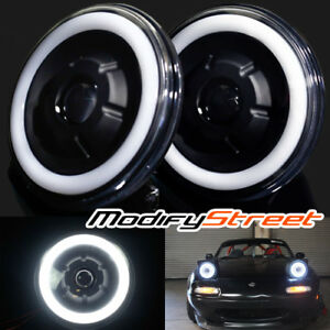 7 Inch Round Black Semi Sealed White Halo Retrofit Real Projector Headlights