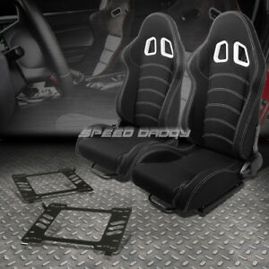 Pair Black Cloth White Dual Stitch Racing Seat bracket For 05 14 Ford Mustang