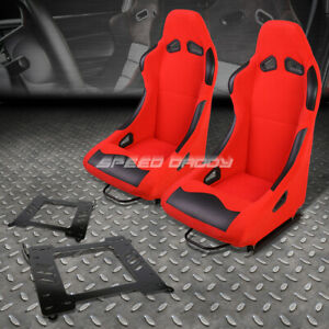 Black Red Cloth Bucket Type R Racing Seat Bracket For 99 05 Bmw 3 Series M3 E46