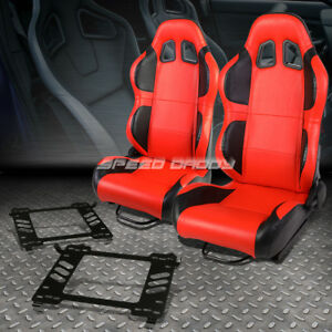 Pair Of Red Pvc Reclinable Black Wing Racing Seat Bracket For 06 11 Honda Civic