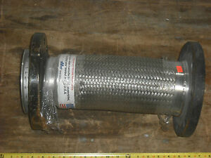 New 4 Flanged Stainless Steel Braided Flex Joint Hose Pipe Fitting 16 Long