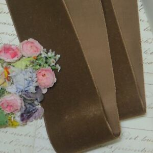 1y 2 Ligh Brown French Velvet Ribbon Rayon Faille Satin Millinery Hat Flower